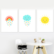 Cartoon Rainbow Rain Cloud Sun Nordic Posters And Prints Wall Art Canvas Painting Pictures Baby kids Room Decor