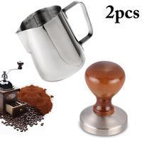 58MM Pither Espumar Barista Espresso Coffee Tamper Com 12oz Estilo Base Plana Cabo de Madeira Sólida de Aço Inoxidável Pesado ferramentas
