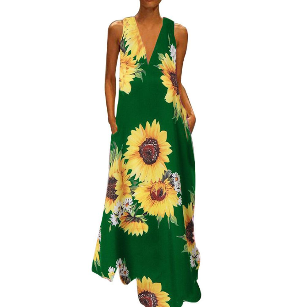 <font><b>Sunflower</b></font> Printing <font><b>dress</b></font> women summer <font><b>yellow</b></font> Boho <font><b>Dresses</b></font> V Neck Sleeveless Large Hem Pockets Long <font><b>Dress</b></font> image
