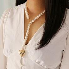 Массивное жемчужное ожерелье для женщин модное креативное длинное