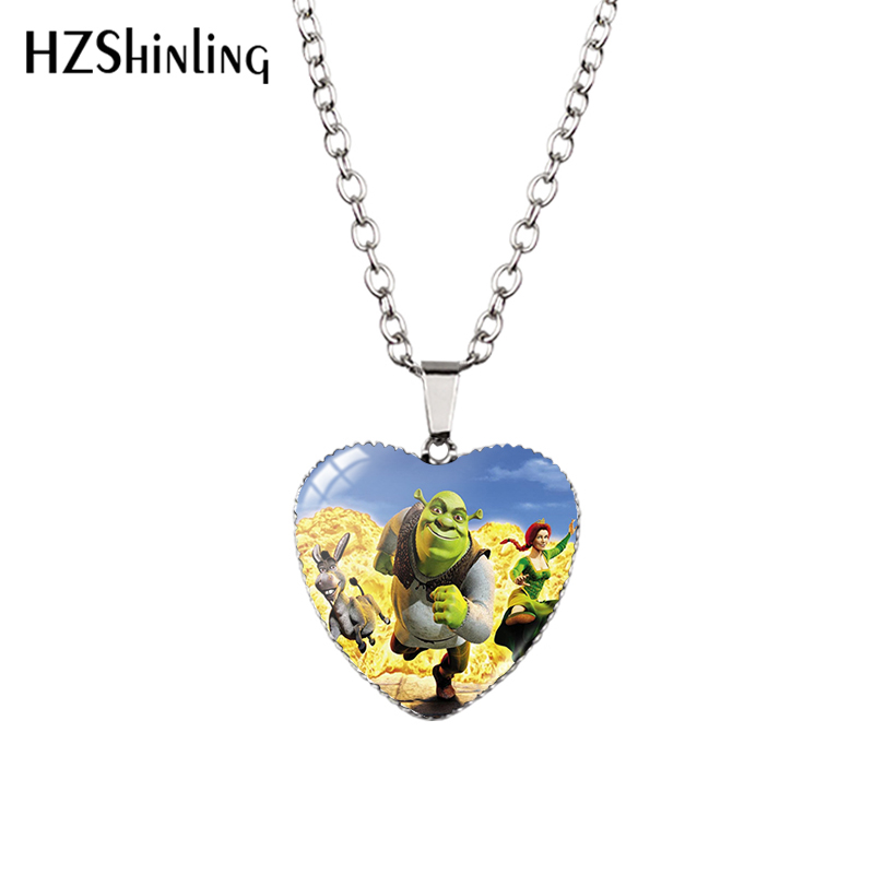 2020 New Shrek Pendant Necklace Glass Cabochon Photo Jewelry Heart Pendants Handmade Items