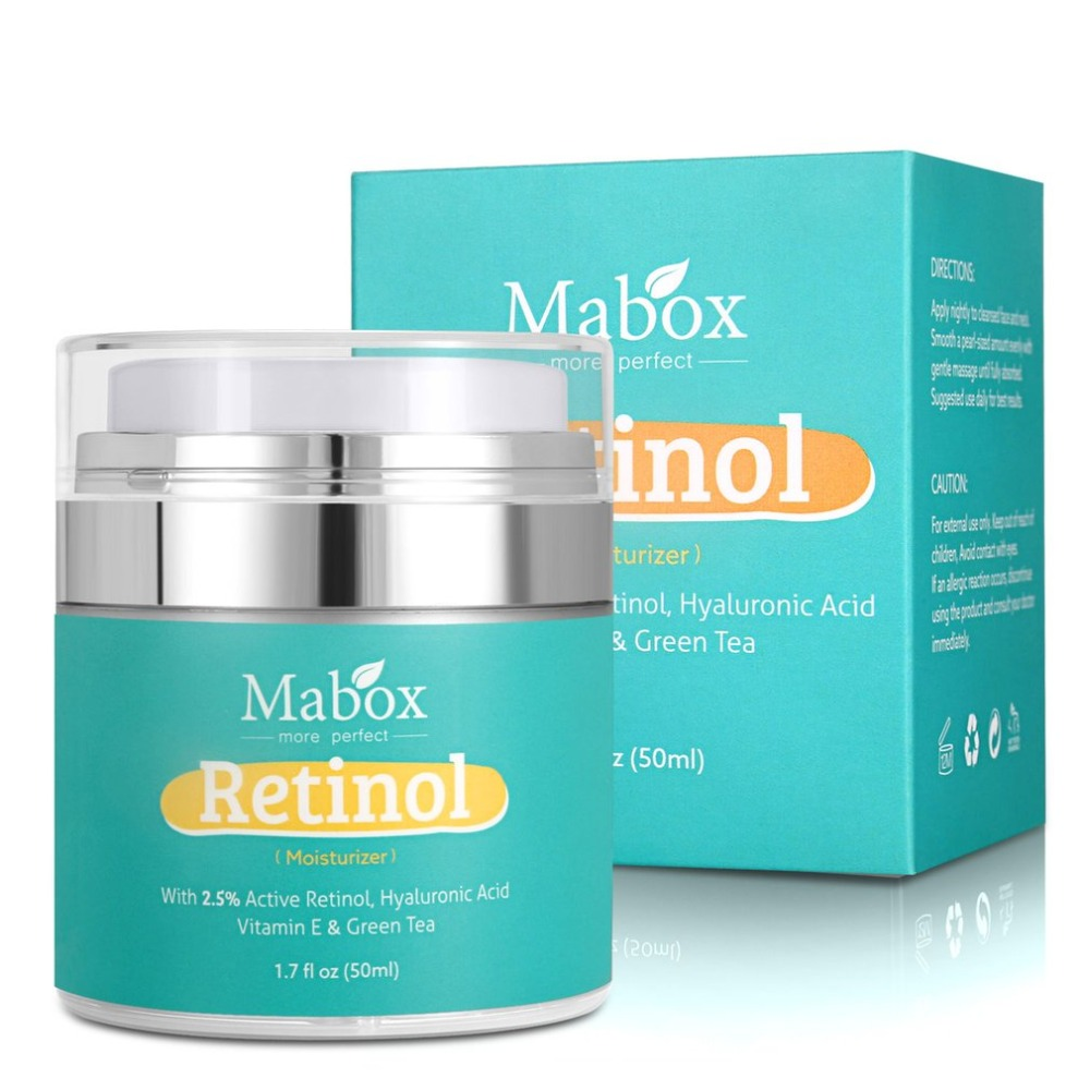 Mabox 50ml Retinol 2.5%Moisturizer Face Cream Hyaluronic Acid AntiAging Remove Wrinkle Vitamin E Collagen Smooth Whitening Cream 1