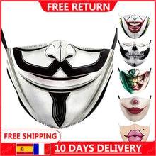 Frete grátis para vendetta impresso máscaras adulto lavável tecido máscara la casa de papel crânio reutilizável máscaras moda rosto cobrir