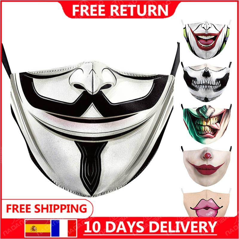 Frete grátis para vendetta impresso máscaras adulto lavável tecido máscara la casa de papel crânio reutilizável máscaras moda rosto cobrir|Máscaras das mulheres|   -