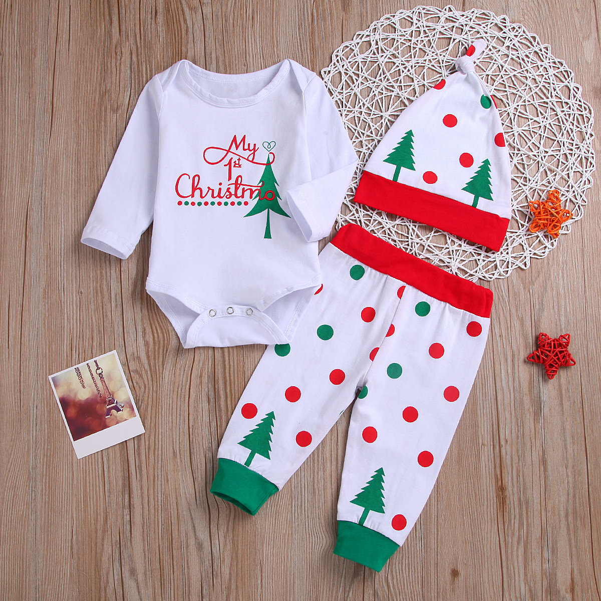 3pcs Newborn Baby Boy Girl Christmas Check Romper Tops+Long Pants Outfits Set US
