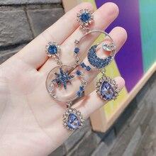 New Women Fine Blue Star and Moon Long Asymmetric Geometric Metal Vintage Drop Earrings