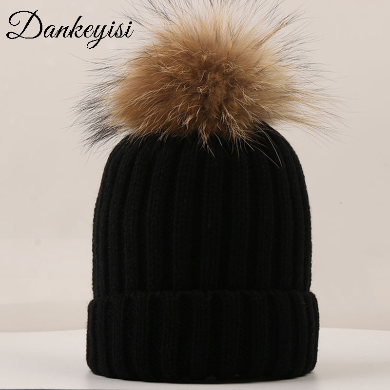 DANKEYISI Fashion Women hat fur pom skullies Beanies Caps Real Raccoon Fur Pompom Beanie Hats For Women Thick Female Cap