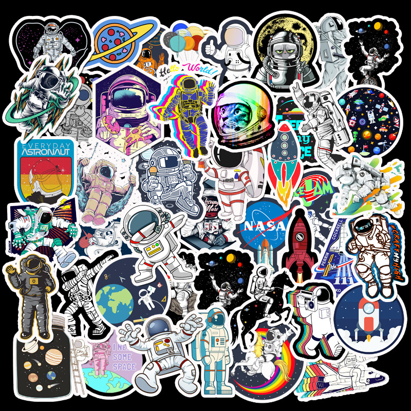 50PCS Outer Space Stickers Pack Astronaut Cool For On The Laptop Fridge Phone Skateboard Travel Suitcase Luggage Sticker