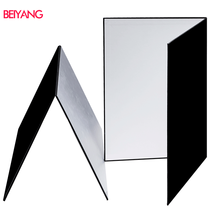 BEIYANG A3 Collapsible Cardboard Double Sided White Black Silver Matte Foil Light Reflector Absorb Thick Reflective Paper