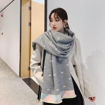 women winter cashmere scarves bow print Cape scarf autumn long scarf Brand Design keep warm female shawl thicker scarf недорого