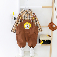 Toddler Boy Plaid Shirt Clothes Set Overall 2020 New Long sleeves Baby Boys Clothing Spring Autumn Bear Kids Outwear
