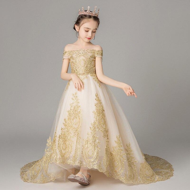 Broderie florale enfant mode fête d'anniversaire 3-14 ans fille mariage longue robe