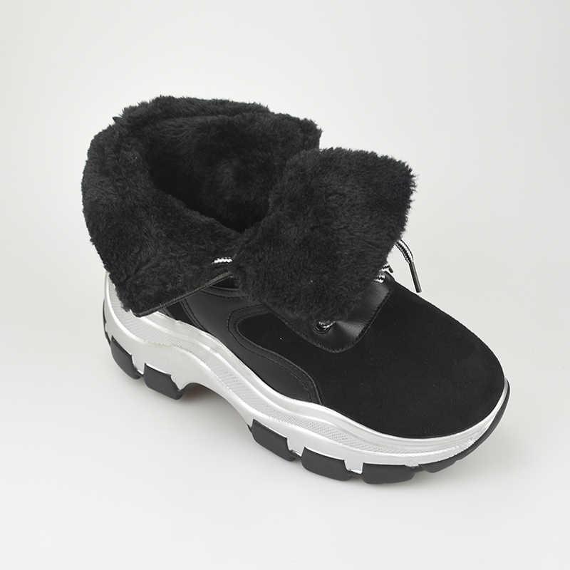 LazySeal ฤดูหนาวความสูงเพิ่มรองเท้าผู้หญิงรองเท้าผู้หญิงรองเท้าบูท Plush กีฬาหนา Lace-up สูง- รองเท้าส้นสูง