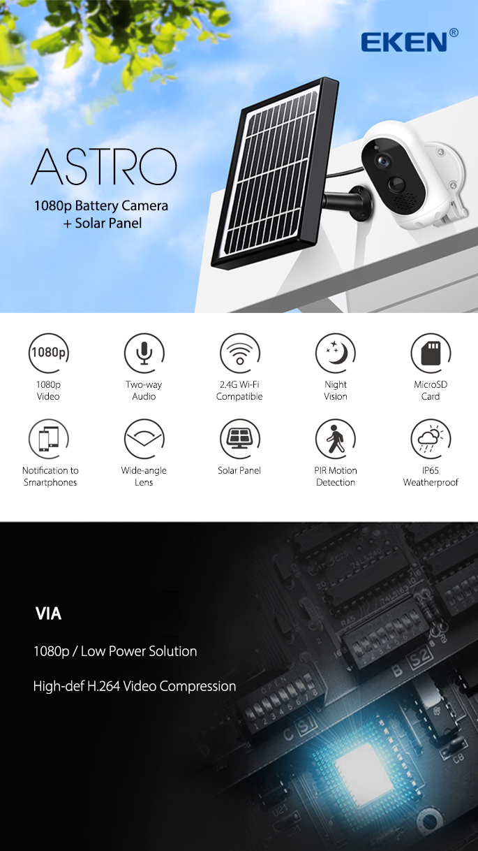EKEN ASTRO SOLAR PANEL WIRELESS 1080P NIGHT VISION OUTDOOR SECURITY CAMERA 5