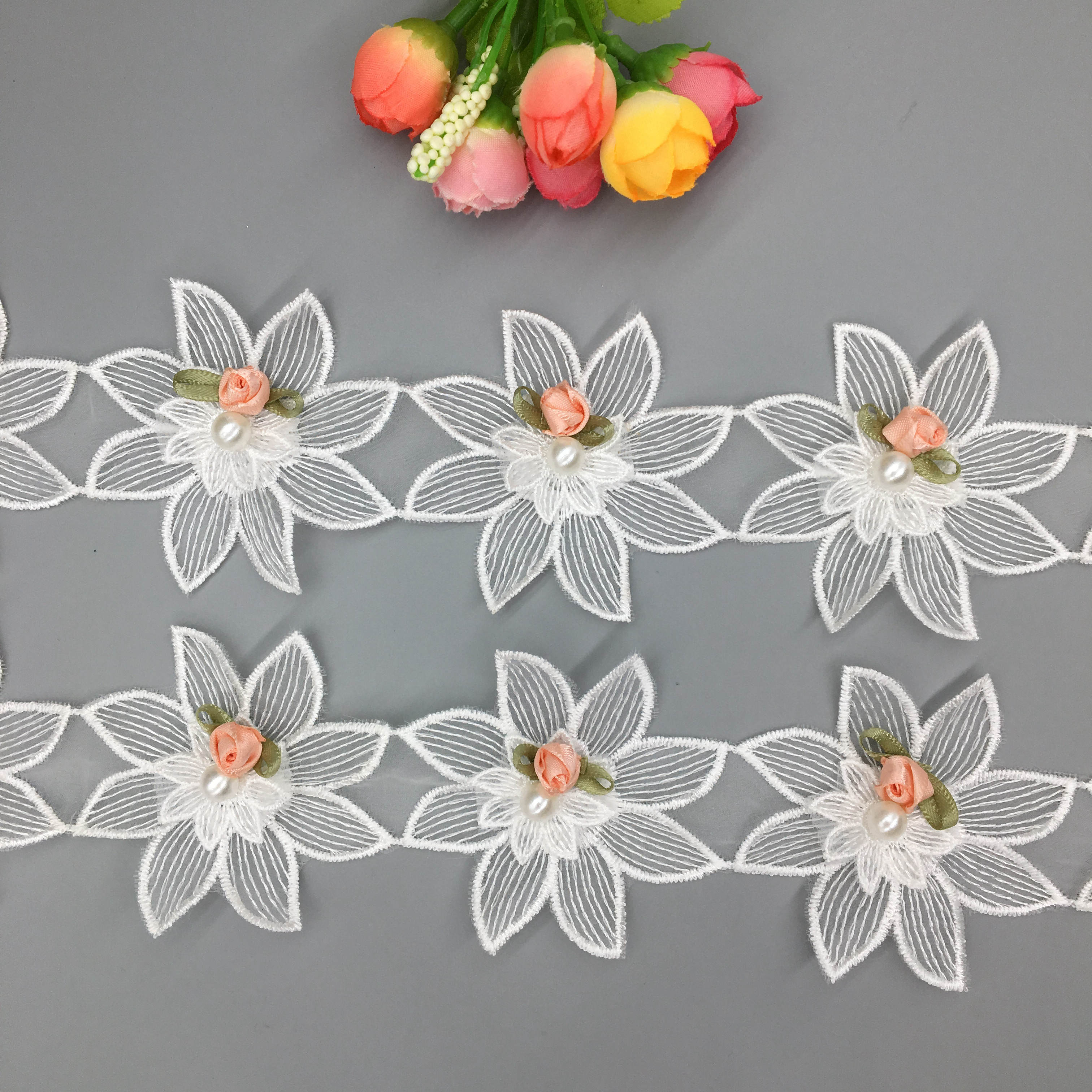 Embroidery Costume Ribbon Wedding Dress Beaded Flowers Edging Craft Lace Trim 1Y