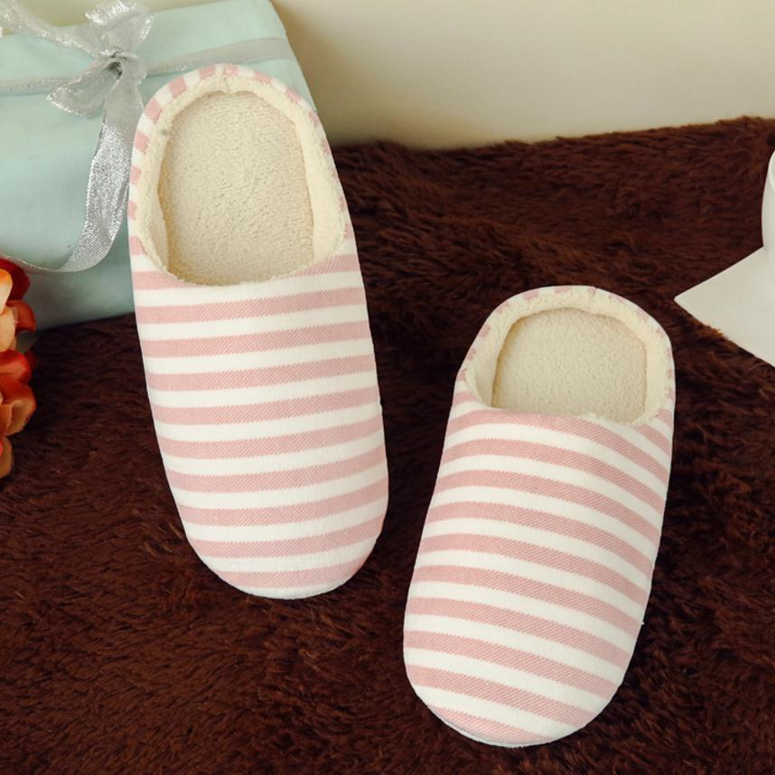 Women Indoor Slippers Striped Soft Bottom Lovers Home Slippers Warm Plush Anti-slip Autumn Shoes Woman Men House Floor Slides