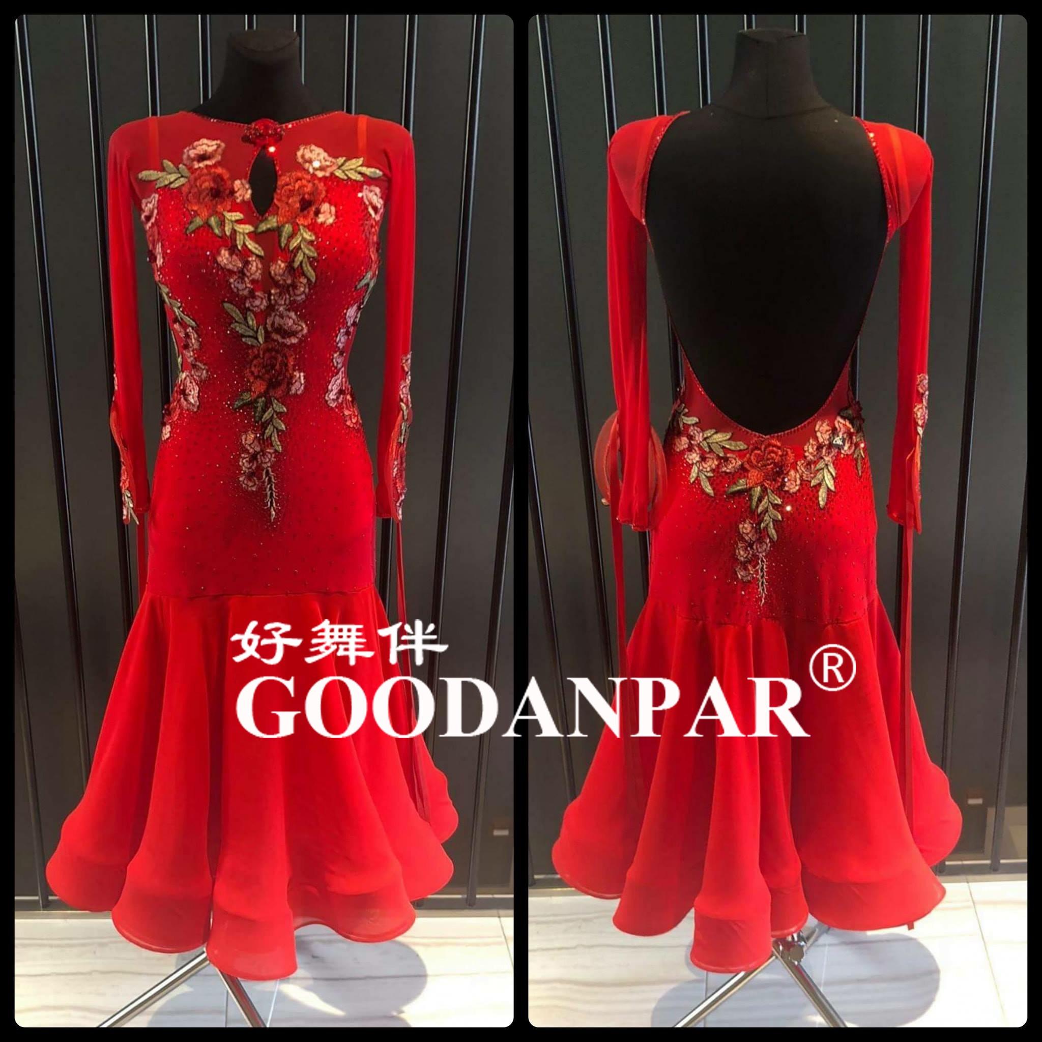 Ballroom Dance Competition Dresses For Women  Standard Waltz Dress Long Sleeve Dress  Red Color Deep U  Cut Back