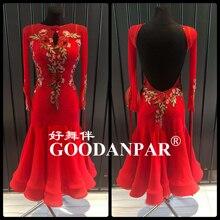 конкурсе бальных танцев платья для женщин стандарт вальс платье с длинным рукавом красный цвет глубокий U урезать