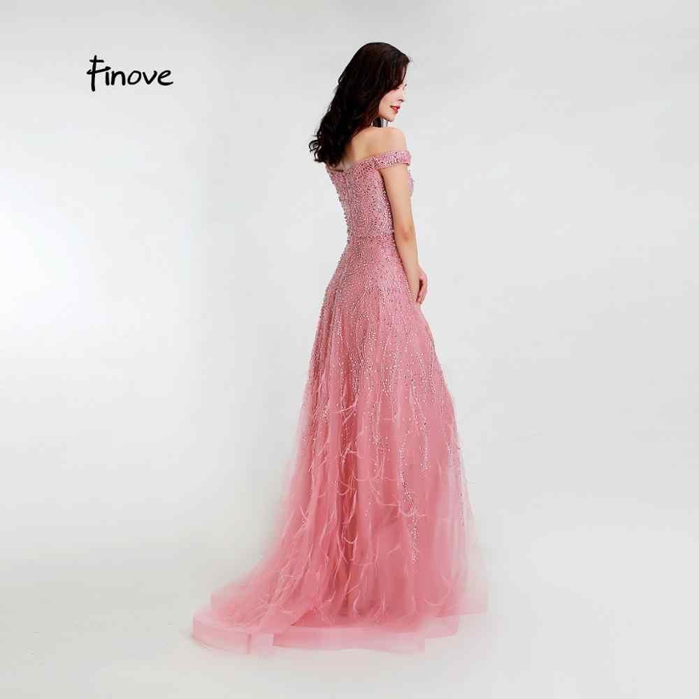 Finove 2020 חדש שמלת ערב Elegan סירת צוואר עם אגלי נוצות קו פורמליות שמלה ארוכה שמלות Robe De Soiree