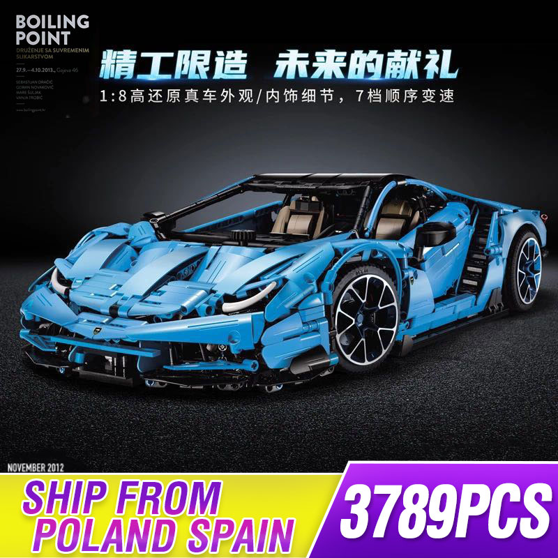 New Lamborghinis 100 Year Centenario 1:8 Hypercar Super Racing Car Fit Lepinings Technic Moc-39933 Model Building Blocks Toy Gif
