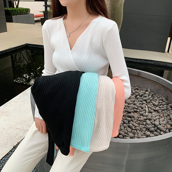 Ailegogo Sexy Women V-neck Long Sleeve Sweater Casual Autumn Winter Female Knitwear Slim Fit Tops Button Knit Ladies Pullover 1