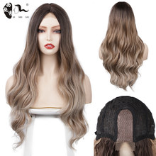 XISHIXIUHAIR 26inch Synthetic Lace Front Wigs Ombre Color Natural Wave Long Free Part Hair Wig For Black Women Heat Resistant