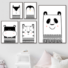 Panda Tiger Hippo Penguin Cartoon Wall Art Print Canvas Painting Nordic Posters And Prints Pictures Baby Kids Room