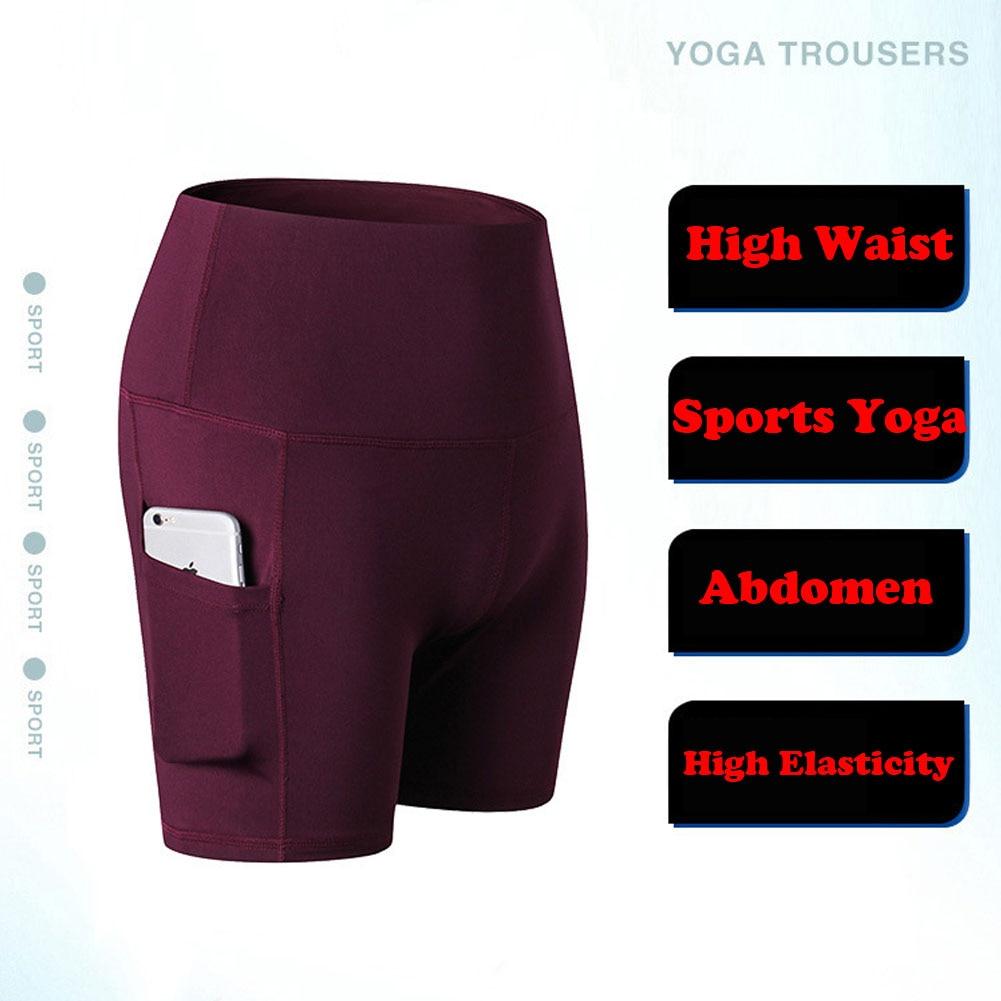Women's Side Pockets High Waist Sports Short Workout Running Fitness Leggings Female Yoga Shorts Gym Wear Yoga Shorts Wholesale