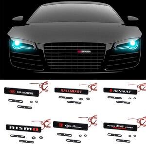 Capa dianteira do carro grille emblema luz led para mitsubishi ralliart toyota peugeot skoda suzuki volkswagen honda kia renault