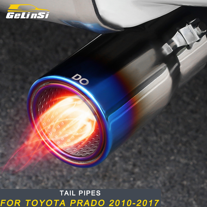 Gelinsi For Toyota Prado 2010 2019 Car Styling Tail Pipes Exhaust Pipe Silencer Frame Cover Trim Sticker Exterior Accessories