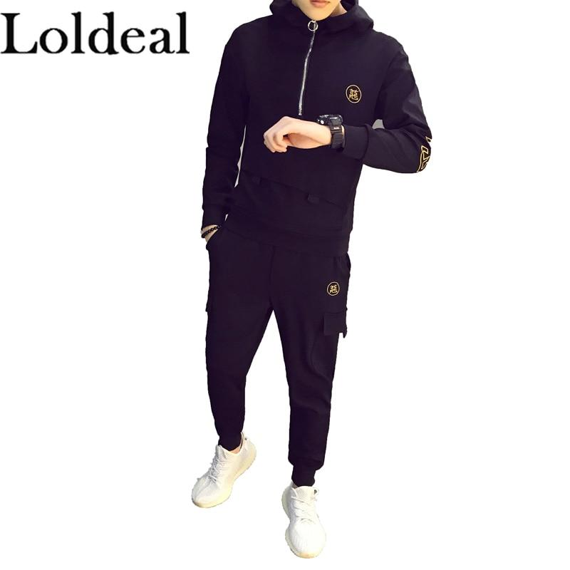 Loldeal Spring Autumn Sportswear Fitness Tracksuit Men Hoodies Sets Casual Men 2 PC Sweatshirt+SweatPants