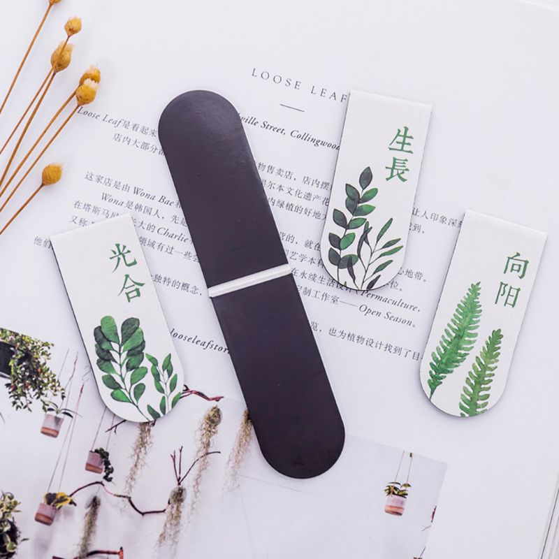 4pcs/set Green Plant Magnetic Bookmark Book Marker Page Clip Office Supplies Student Stationery Souvenir Collection Kids Gift