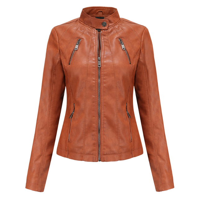 New Fall Faux Soft Leather Pu Jacket Ladies Slim Punk Coat Women s Round Neck Moto Motorcycle Rider Zip Street Coat