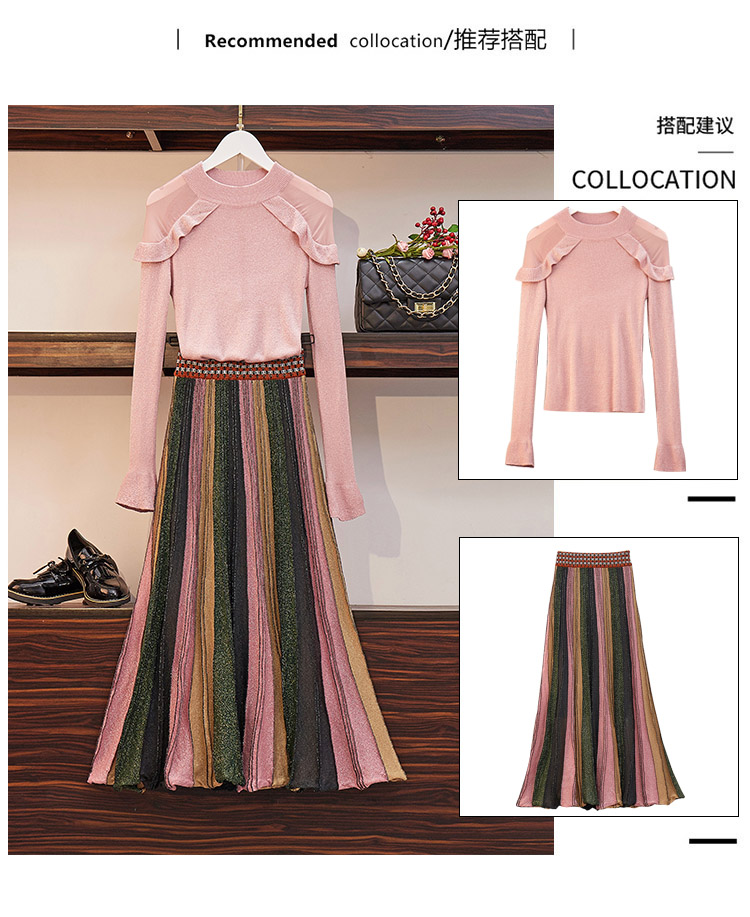 Two Piece Sets Women Outfits Spring 2019 Knitting Sweaters And Shiny Long Pleated Skirt Suits Elegant Korean Fashion Ladies Sets 31