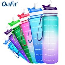 Quifit 1l 34oz tritan garrafa de água com palha ou filp-flop bpa livre beber copos garrafas de bicicleta portátil ginásio jarro ao ar livre