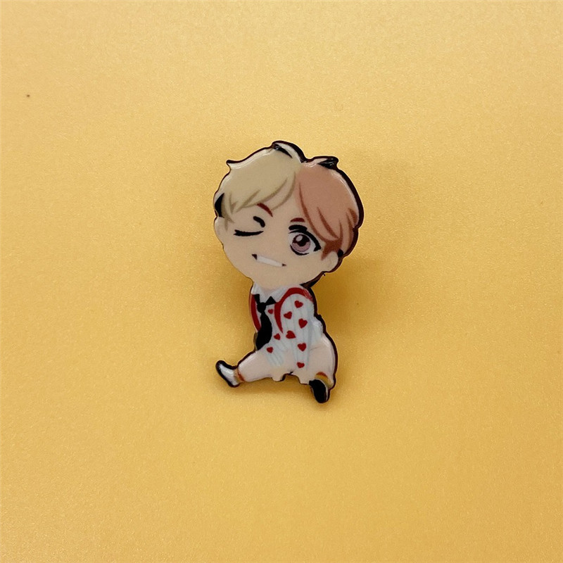 Kpop Bangtan Boys JK Acrylic Brooch Pin Coat Hat Bag Cloth Decorations Fashion Jewelry Party Garment Accessories 3.5*4CM