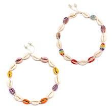 цена 2 Pcs/ Set Bohemian Summer Beach Shell Necklace Rope Chain Pearl Colorful Metal Shell Choker Necklace Jewelry в интернет-магазинах