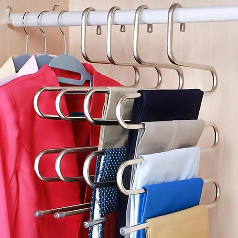 Multi-functional S-Type ชั้นวางกางเกงสแตนเลส Multi-Layer ชั้นวางกางเกง traceless ผู้ใหญ่กางเกงแขวน