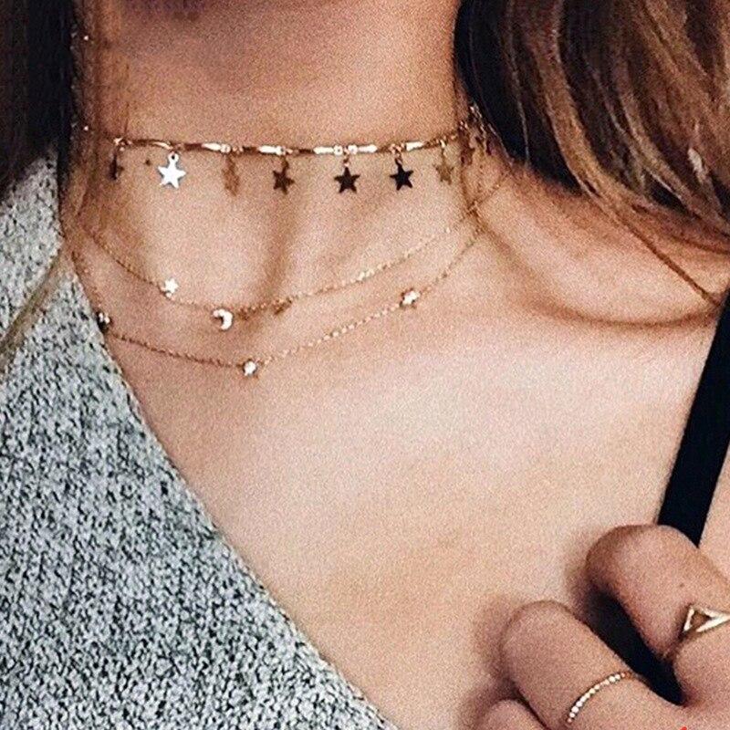 Endless Bohemian Stars Gold Chain Women Choker Necklace for Women Designer Necklaces Pendants Simple Boho Layering Chockers