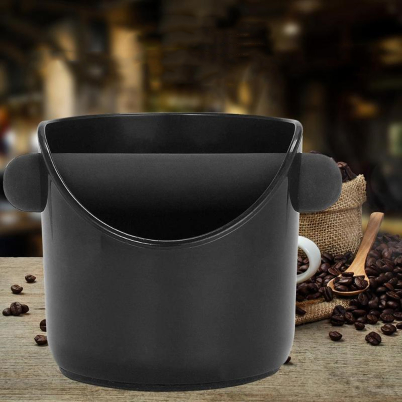 Black Coffee Knock Box Espresso Grounds Container Residue With Handle For Barista Coffee Residue Bucket Grind ABS Waste Bin