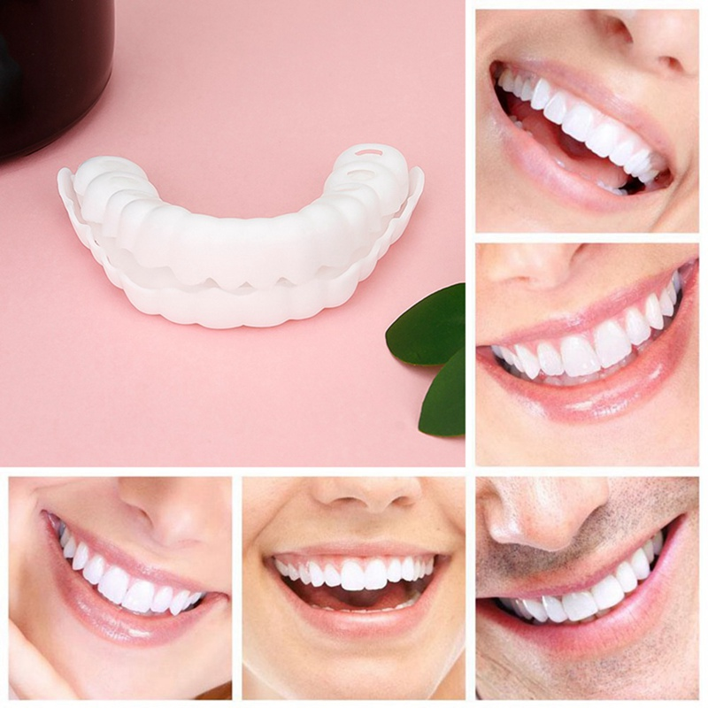 1pair Silicone Fake Teeth Upper False Fake Tooth Cover Snap On Immediate Smile Cosmetic Denture Care Oral Care Plastic Whitening