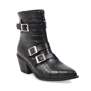 Image 5 - YMECHIC Plus Size Occident Brown Buckle Front Zipper Block Heels Ankle Boots for Women Shoes Cowboy Western Boots Winter 2019