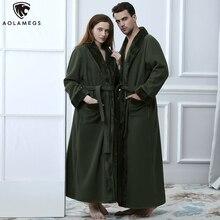 Aolamegs Bathrobe Solid Color Flannel Gown Long Homewear Soft Warm Robe Advanced Baggy Pregnant Cozy Sleepwear Couple Pajamas