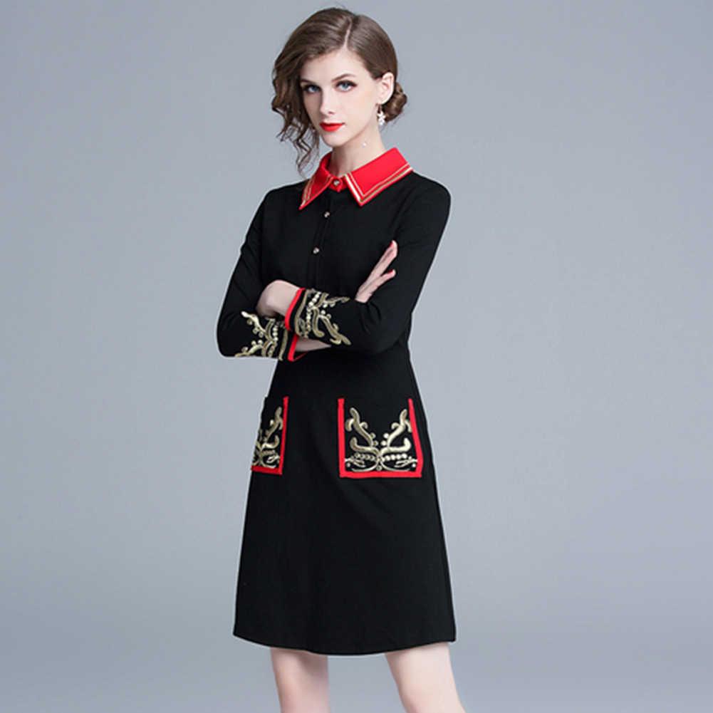 2019 nueva moda mujer moda oro bordado Vintage vestidos cuello vuelto manga muñeca longitud de la rodilla camisa vestido nuevo vestido