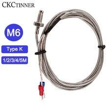 Tipo k 1/2/3/4/5m do parafuso da linha m6 do par termoelétrico sensor de temperatura 0-controlador de temperatura de 400 °c da sonda