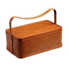 Caja de almacenamiento para juego de té hecha a mano, bambú, marrón claro, portátil, de gran capacidad, para dulces, aperitivos, cesta de almacenamiento familiar