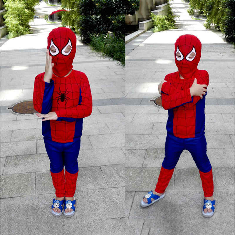 Red Spiderman Black Cosplay Costume For Children Clothing Sets Superman Suit Halloween Funny   Cosplay Costume For Kids