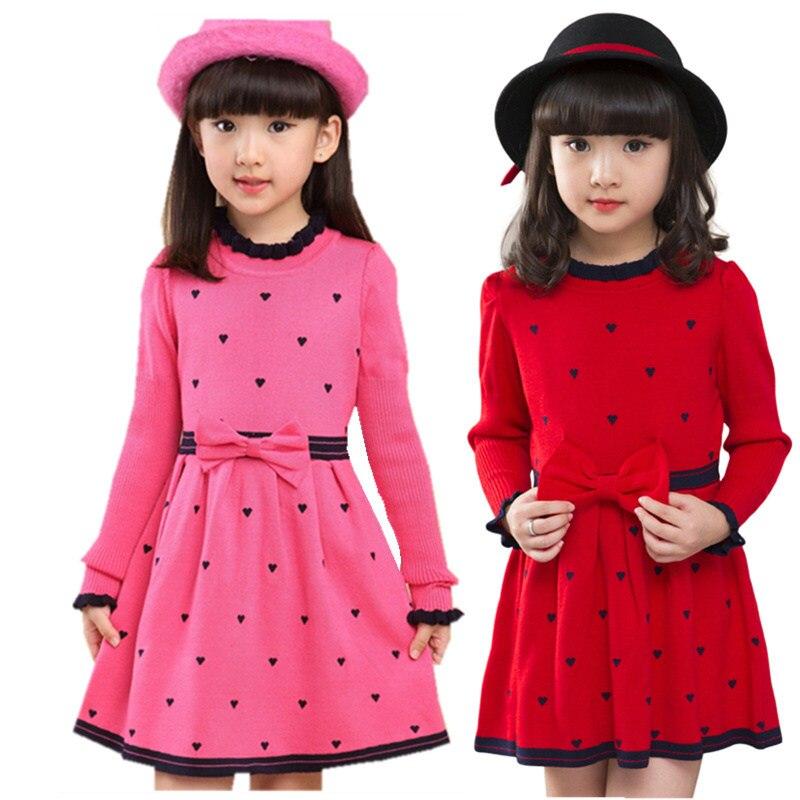Fantaisie filles chandails robe enfants mode robe tricotée pour filles enfants printemps automne vêtements pour âge 4 5 7 9 11 13 ans