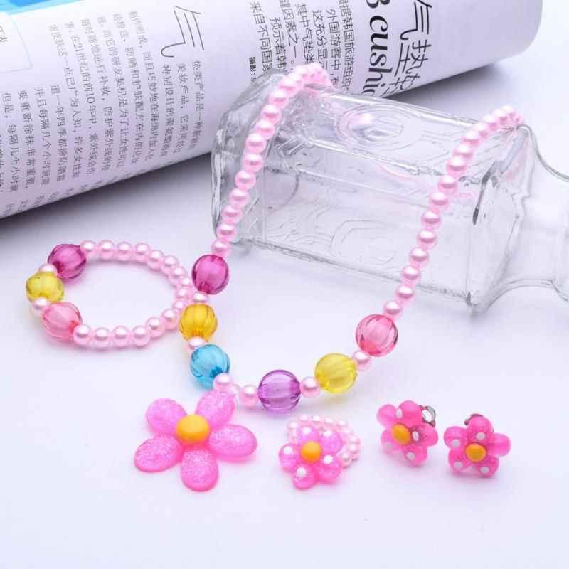4 pièces princesse fleur collier Bracelet anneaux boucles d'oreilles fleur bijoux épais ensembles bébé filles enfant en bas âge bijoux Costome
