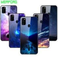 Für Samsung M21 M32 Fall Gehärtetes Glas Planeten Raum Abdeckung für Samsung Galaxy M21 M02s Glas Zurück Fall Für Samsung a02S Coque